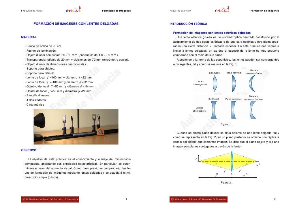 FACULTAD DE FÍSICA                                         Formación de imágenes    FACULTAD DE FÍSICA                    ...