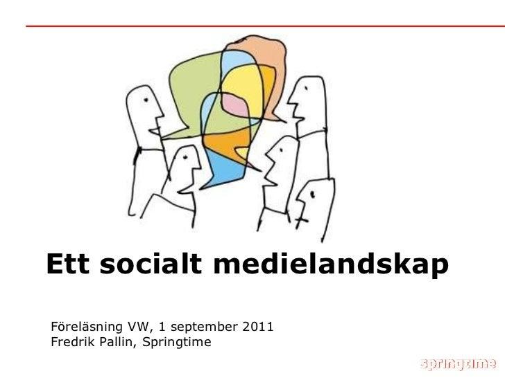 Ett socialt medielandskap Föreläsning VW, 1 september 2011 Fredrik Pallin, Springtime