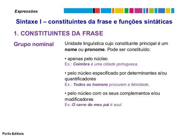 Expressões  Sintaxe I – constituintes da frase e funções sintáticas 1. CONSTITUINTES DA FRASE Grupo nominal  Unidade lingu...