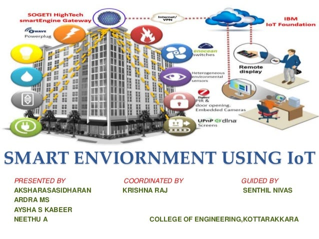 SMART ENVIORNMENT USING IoT PRESENTED BY COORDINATED BY GUIDED BY AKSHARASASIDHARAN KRISHNA RAJ SENTHIL NIVAS ARDRA MS AYS...