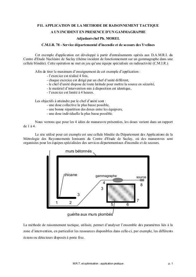 P11. APPLICATION DE LA METHODE DE RAISONNEMENT TACTIQUE                   A UN INCIDENT EN PRESENCE D'UN GAMMAGRAPHE      ...