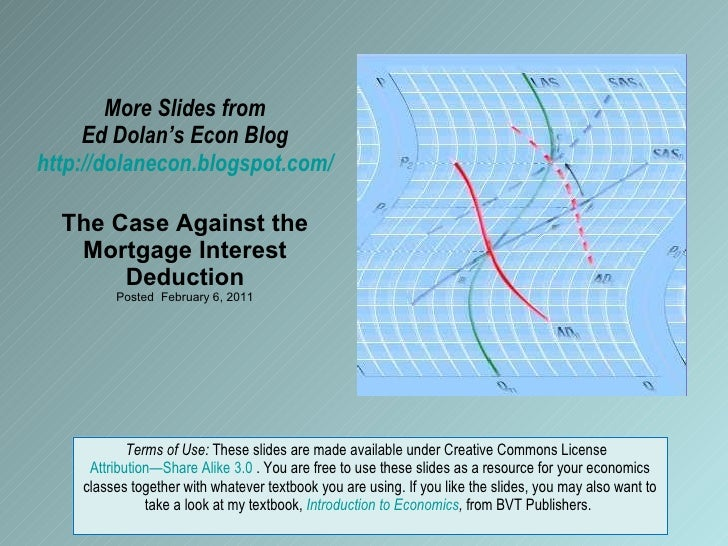 More Slides from Ed Dolan's Econ Blog http://dolanecon.blogspot.com/ The Case Against the Mortgage Interest Deduction Post...