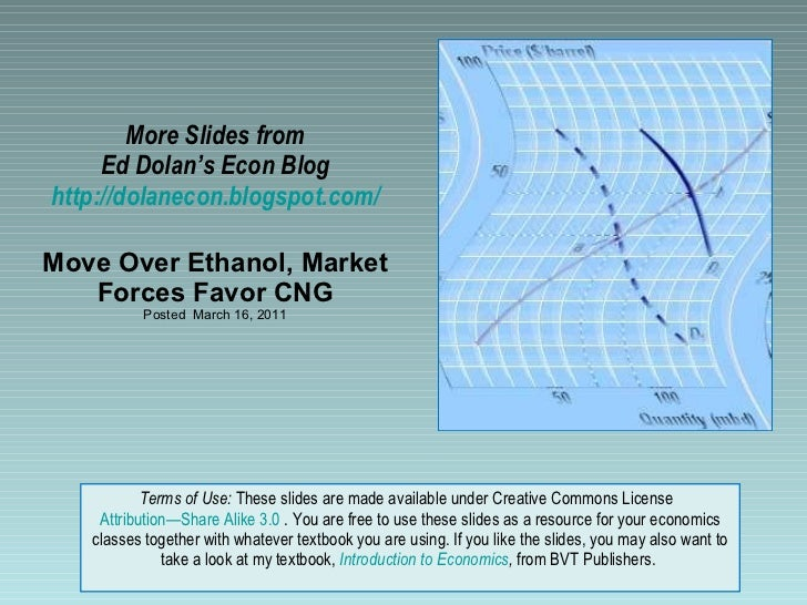 More Slides from Ed Dolan's Econ Blog http://dolanecon.blogspot.com/ Move Over Ethanol, Market Forces Favor CNG Posted  Ma...