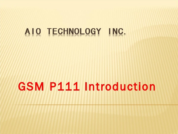 GSM   P111 Introduction