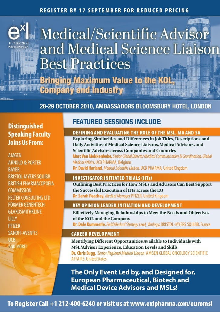 ExL Pharma's European Medical Science Liaison Conference Brochure, Oc…