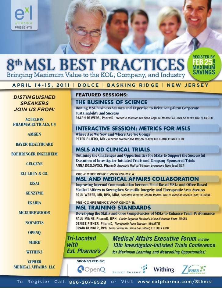 8 MSL BEST PRACTICES thAPRIL 14 -15, 2011 | DOLCE | BASKING RIDGE | NEW JERSEYDISTINGUISHED  SPEAKERS                     ...