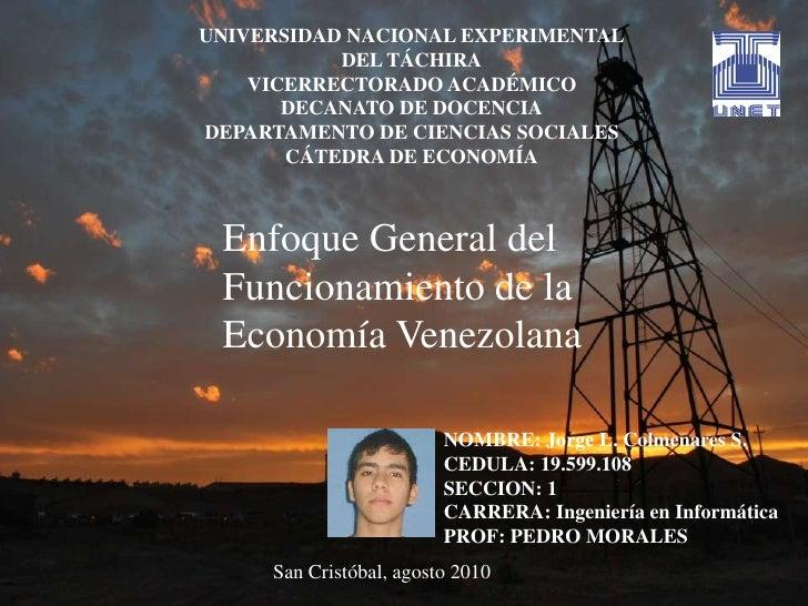 UNIVERSIDAD NACIONAL EXPERIMENTAL<br />DEL TÁCHIRA<br />VICERRECTORADO ACADÉMICO<br />DECANATO DE DOCENCIA<br />DEPARTAMEN...
