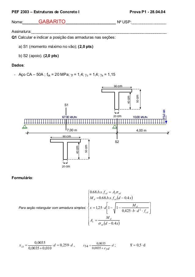PEF 2303 – Estruturas de Concreto I Prova P1 - 28.04.04 Nome:_______GABARITO_______________________ No USP:_______________...