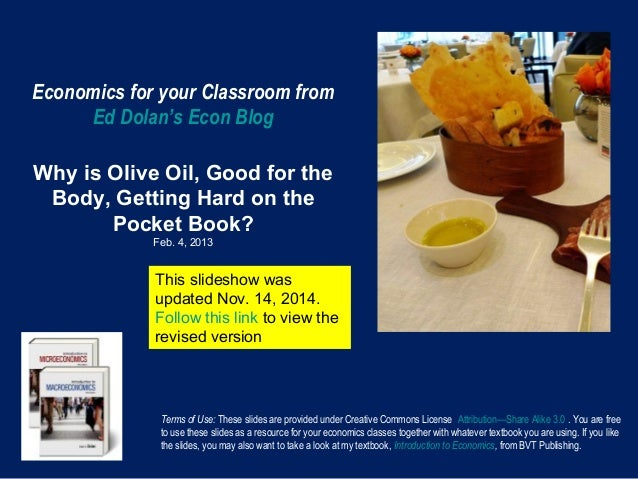 Economics for your Classroom from Ed Dolan's Econ Blog Why is Olive Oil, Good for the Body, Getting Hard on the Pocket Boo...