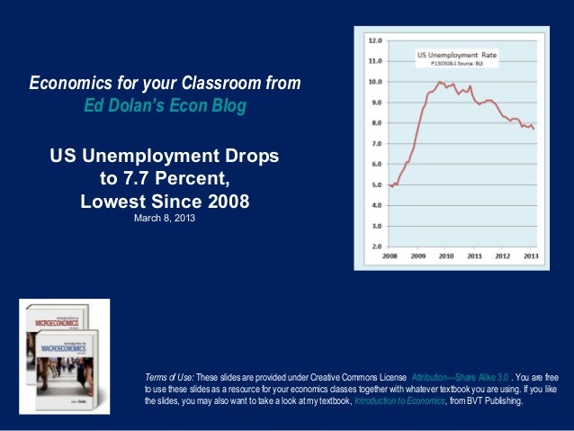 Economics for your Classroom from     Ed Dolan's Econ Blog  US Unemployment Drops       to 7.7 Percent,     Lowest Since 2...