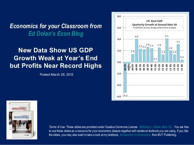 Economics for your Classroom from     Ed Dolan's Econ Blog  New Data Show US GDP Growth Weak at Year's Endbut Profits Near...