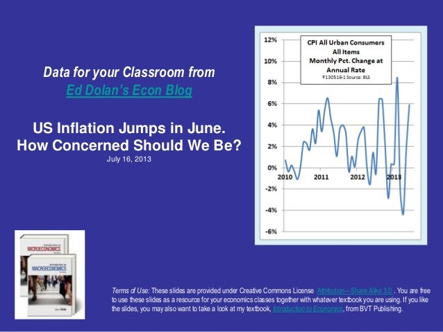 Data for your Classroom from Ed Dolan's Econ Blog US Inflation Jumps in June. How Concerned Should We Be? July 16, 2013 Te...