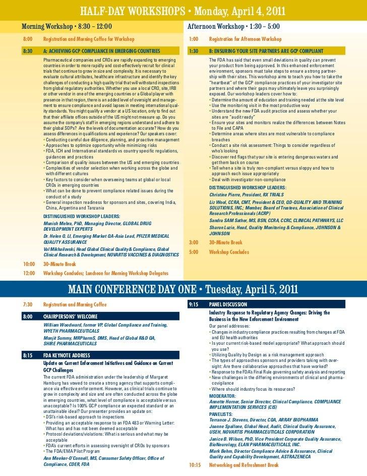 HAlF-DAY WoRkSHoPS • Monday, April 4, 2011Morning Workshop • 8:30 – 12:00                                                 ...