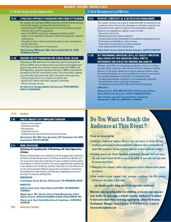 BREAKOUT SESSIONS: CHOOSE A OR BA: Global Inspectional Approaches                                                     B: R...