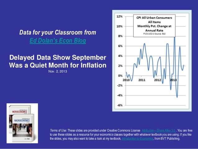 Data for your Classroom from Ed Dolan's Econ Blog Delayed Data Show September Was a Quiet Month for Inflation Nov. 2, 2013...