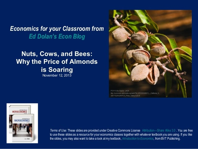 Economics for your Classroom from Ed Dolan's Econ Blog Nuts, Cows, and Bees: Why the Price of Almonds is Soaring November ...