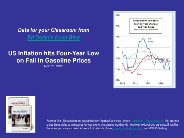 Data for your Classroom from Ed Dolan's Econ Blog US Inflation hits Four-Year Low on Fall in Gasoline Prices Nov. 21, 2013...