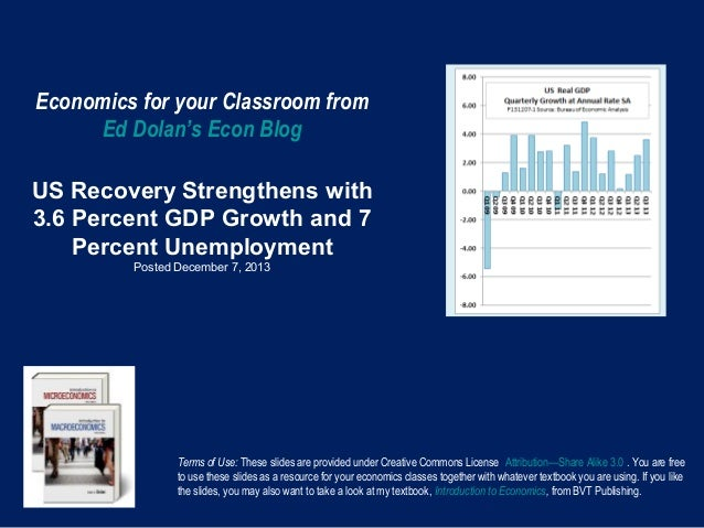 Economics for your Classroom from Ed Dolan's Econ Blog US Recovery Strengthens with 3.6 Percent GDP Growth and 7 Percent U...