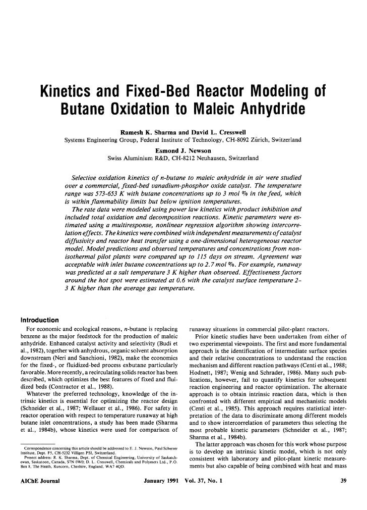 Kinetics and Fixed-Bed Reactor Modeling of               Butane Oxidation to Maleic Anhydride                             ...