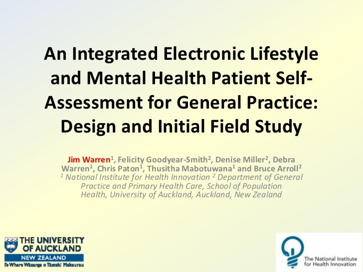An Integrated Electronic Lifestyle and Mental Health Patient Self-Assessment for General Practice: Design and Initial Fiel...