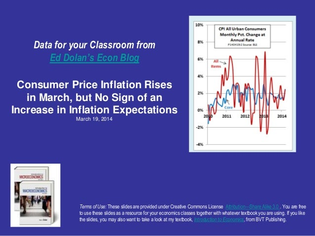 Data for your Classroom from Ed Dolan's Econ Blog Consumer Price Inflation Rises in March, but No Sign of an Increase in I...