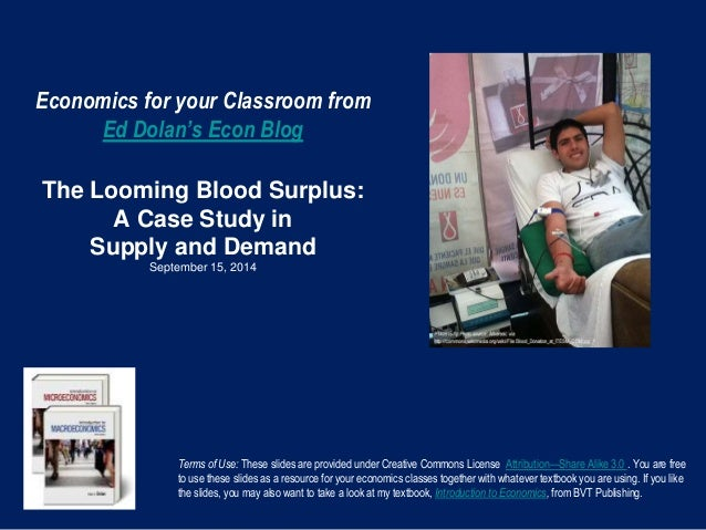 Economics for your Classroom from  Ed Dolan's Econ Blog  The Looming Blood Surplus:  A Case Study in  Supply and Demand  S...