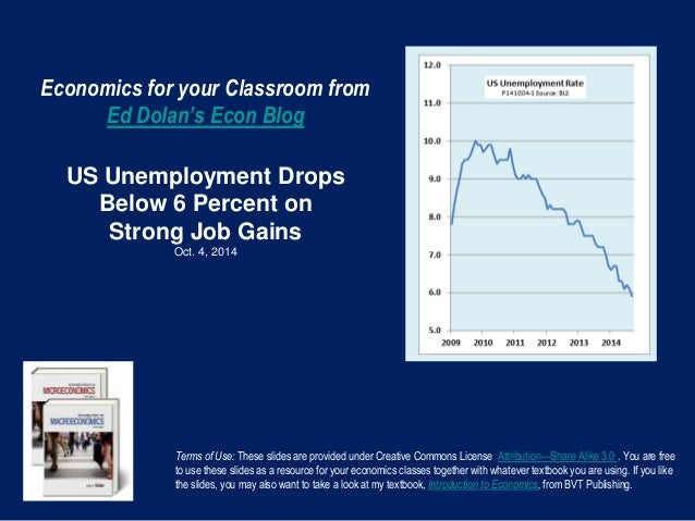 Economics for your Classroom from  Ed Dolan's Econ Blog  US Unemployment Drops  Below 6 Percent on  Strong Job Gains  Oct....