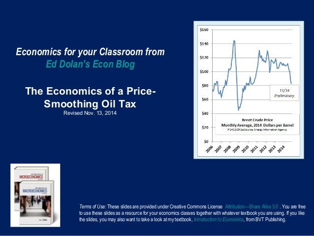 Economics for your Classroom from  Ed Dolan's Econ Blog  The Economics of a Price-  Smoothing Oil Tax  Revised Nov. 13, 20...