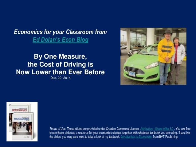 Economics for your Classroom from Ed Dolan's Econ Blog By One Measure, the Cost of Driving is Now Lower than Ever Before D...