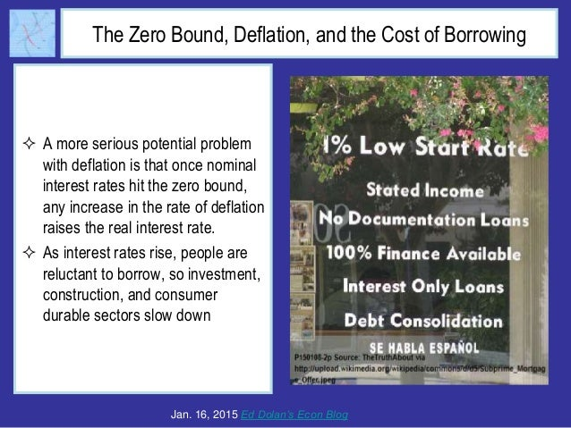 The Zero Bound, Deflation, and the Cost of Borrowing  A more serious potential problem with deflation is that once nomina...