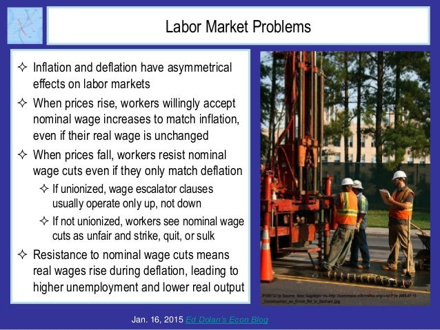 Labor Market Problems  Inflation and deflation have asymmetrical effects on labor markets  When prices rise, workers wil...