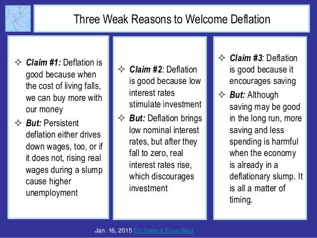 Three Weak Reasons to Welcome Deflation  Claim #1: Deflation is good because when the cost of living falls, we can buy mo...
