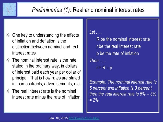 Preliminaries (1): Real and nominal interest rates  One key to understanding the effects of inflation and deflation is th...