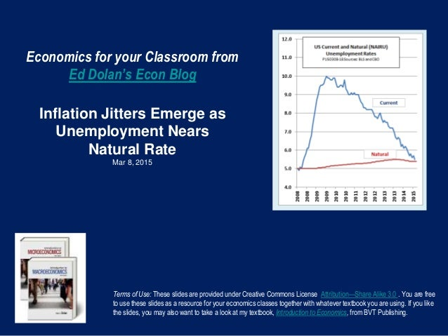 Economics for your Classroom from Ed Dolan's Econ Blog Inflation Jitters Emerge as Unemployment Nears Natural Rate Mar 8, ...