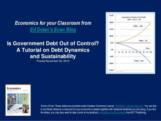 Economics for your Classroom from Ed Dolan's Econ Blog Is Government Debt Out of Control? A Tutorial on Debt Dynamics and ...