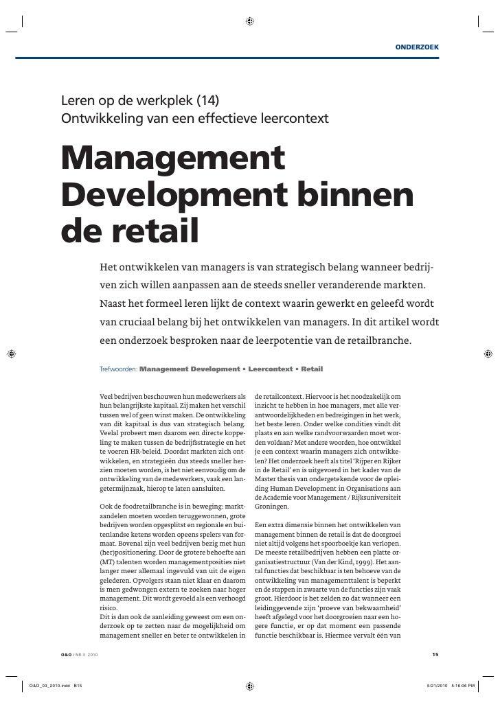 ONDERZOEK     Leren op de werkplek (14) Ontwikkeling van een effectieve leercontext   Management Development binnen de ret...