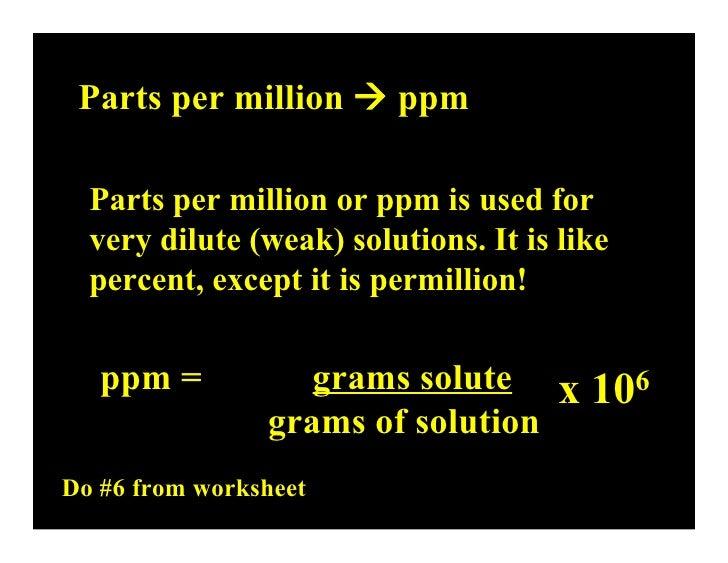 Lecture 162 Concentration – Parts Per Million Worksheet