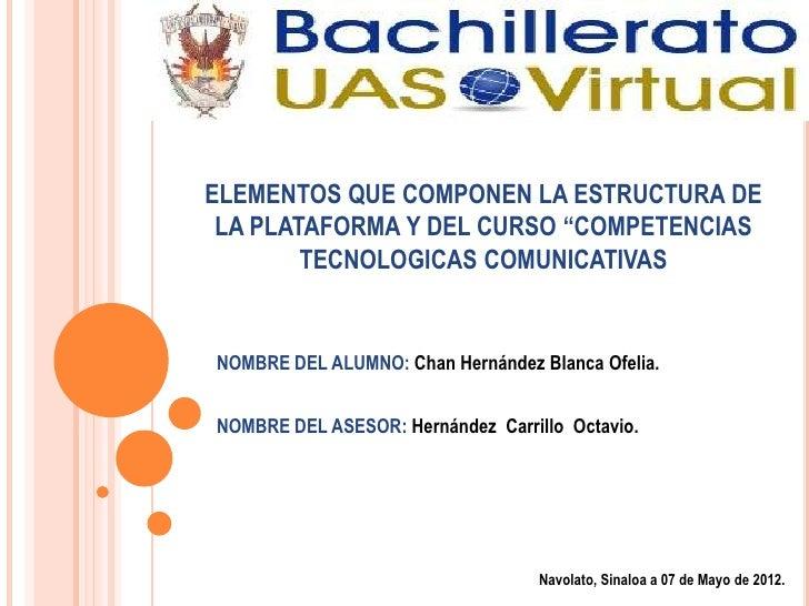 """ELEMENTOS QUE COMPONEN LA ESTRUCTURA DE LA PLATAFORMA Y DEL CURSO """"COMPETENCIAS        TECNOLOGICAS COMUNICATIVASNOMBRE DE..."""