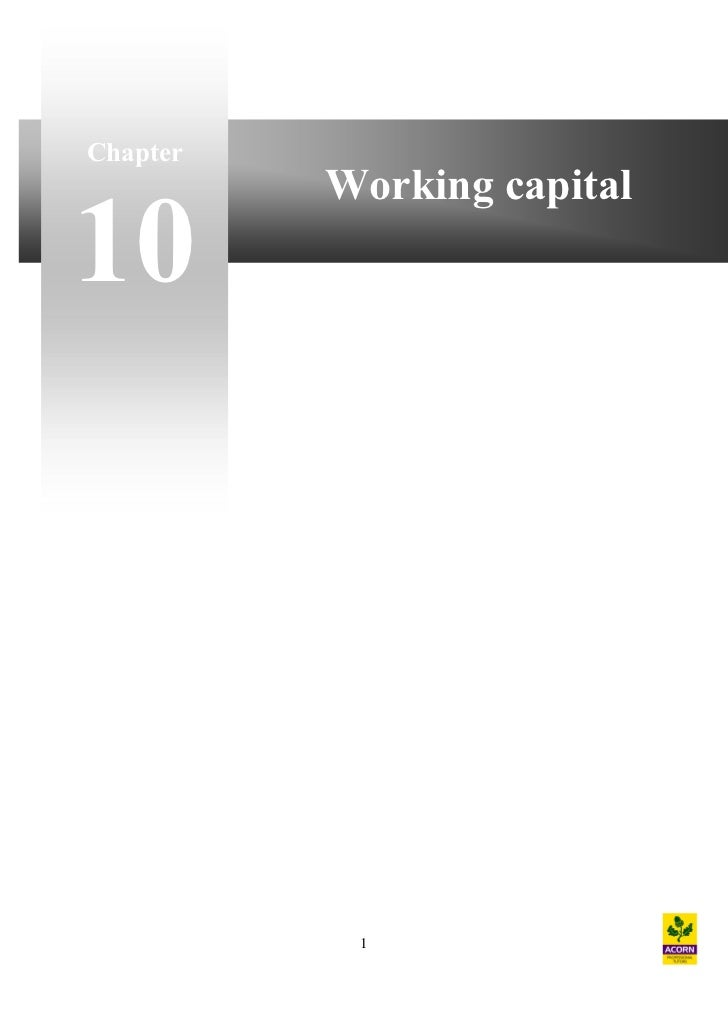 Chapter          Working capital10           1