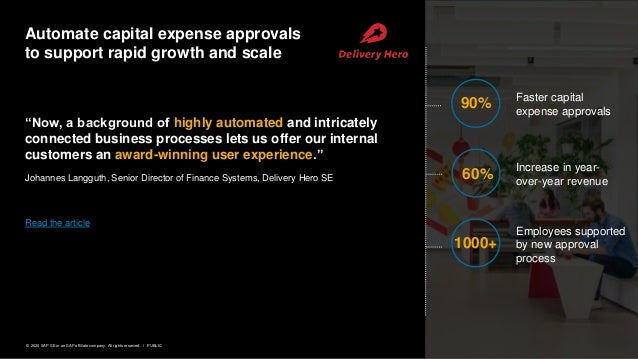 6PUBLIC© 2020 SAP SE or an SAP affiliate company. All rights reserved. ǀ Automate capital expense approvals to support rap...