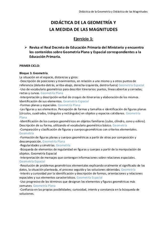 Didáctica de la Geometría y Didáctica de las Magnitudes                       DIDÁCTICA DE LA GEOMETRÍA Y                 ...