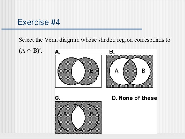 Sets and venn diagrams 21 exercise 4 select the venn diagram whose shaded ccuart Choice Image