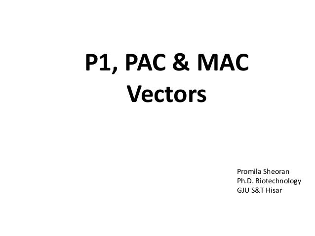 P1, PAC & MAC Vectors Promila Sheoran Ph.D. Biotechnology GJU S&T Hisar