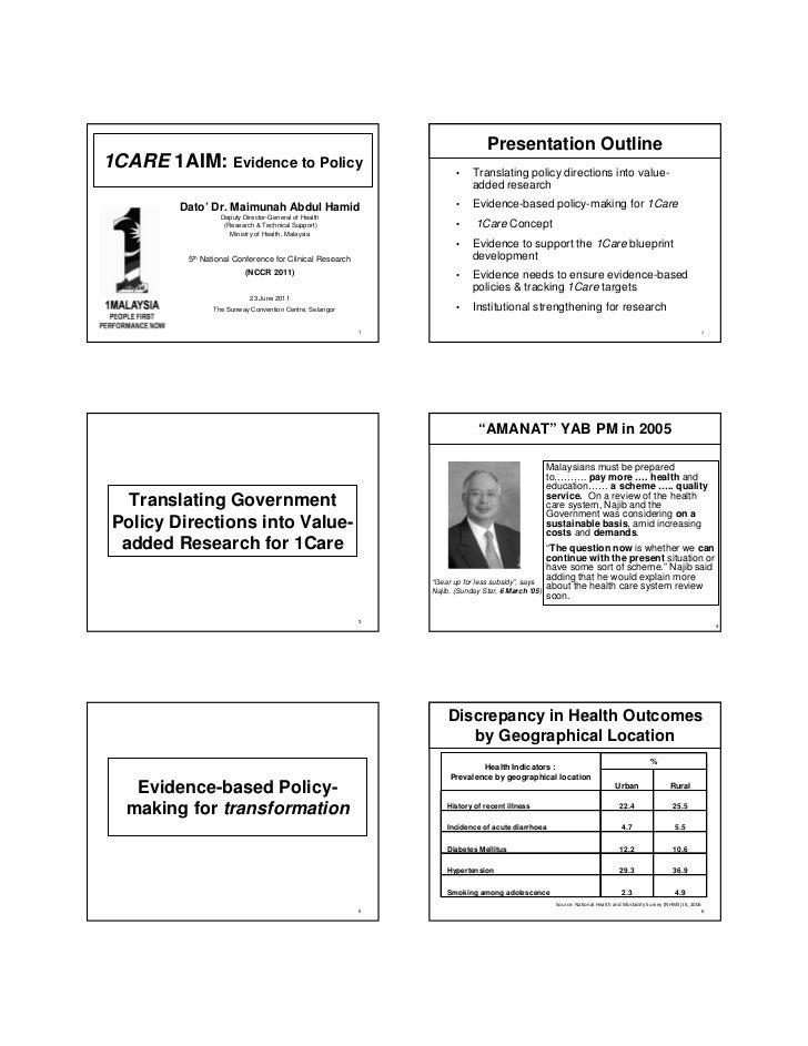 Presentation Outline 1CARE 1AIM: Evidence to Policy                                       •    Translating policy directio...