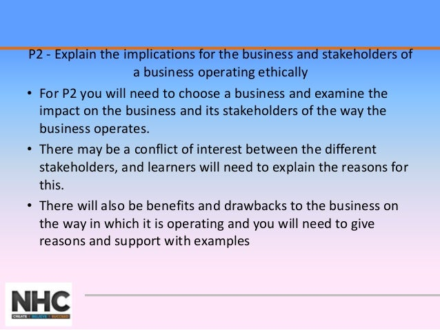 "p2 explain the implications for the business and stakeholders of a business operating ethically Business unit 37 - assignment brief  activities"" p2 ""explain the implications for the business and stakeholders of a business operating ethically."