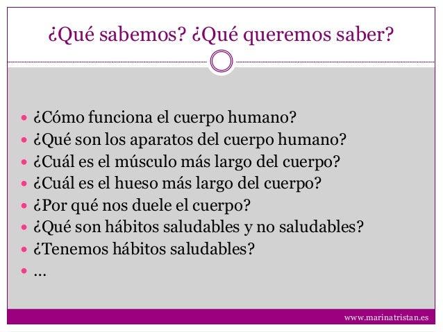 ¿Qué sabemos? ¿Qué queremos saber?  ¿Cómo funciona el cuerpo humano?  ¿Qué son los aparatos del cuerpo humano?  ¿Cuál e...