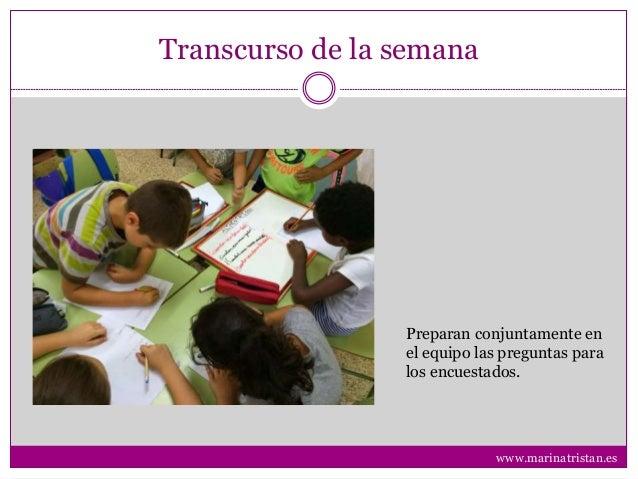 Transcurso de la semana Preparan conjuntamente en el equipo las preguntas para los encuestados. www.marinatristan.es