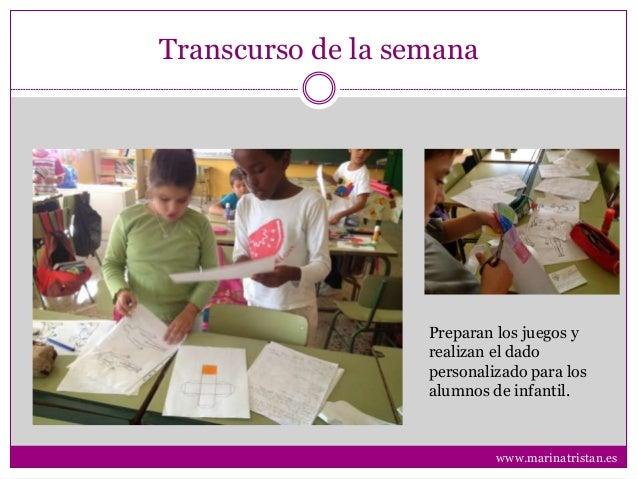 Transcurso de la semana Preparan los juegos y realizan el dado personalizado para los alumnos de infantil. www.marinatrist...