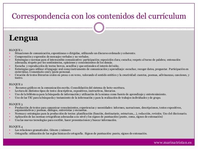 Correspondencia con los contenidos del currículum BLOQUE 1  Situaciones de comunicación, espontáneas o dirigidas, utiliza...