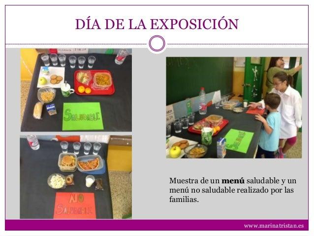 DÍA DE LA EXPOSICIÓN Muestra de un menú saludable y un menú no saludable realizado por las familias. www.marinatristan.es